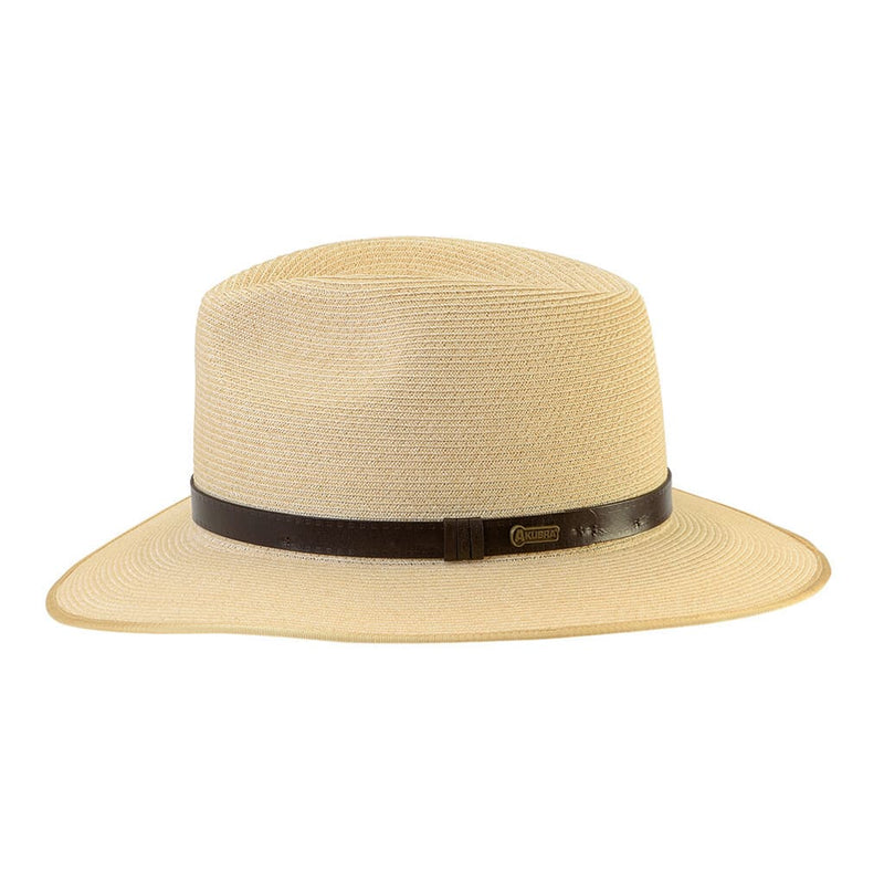 Right side view of the Akubra Balmoral hat in Natural showing band detail..