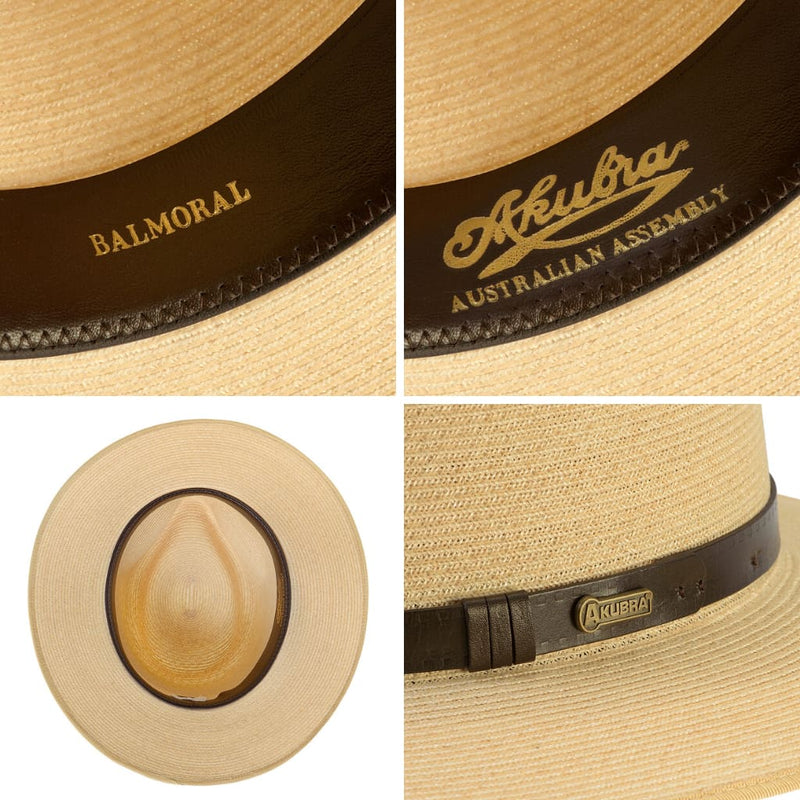 Compilation of images showing interior detail of the Akubra Balmoral hat.