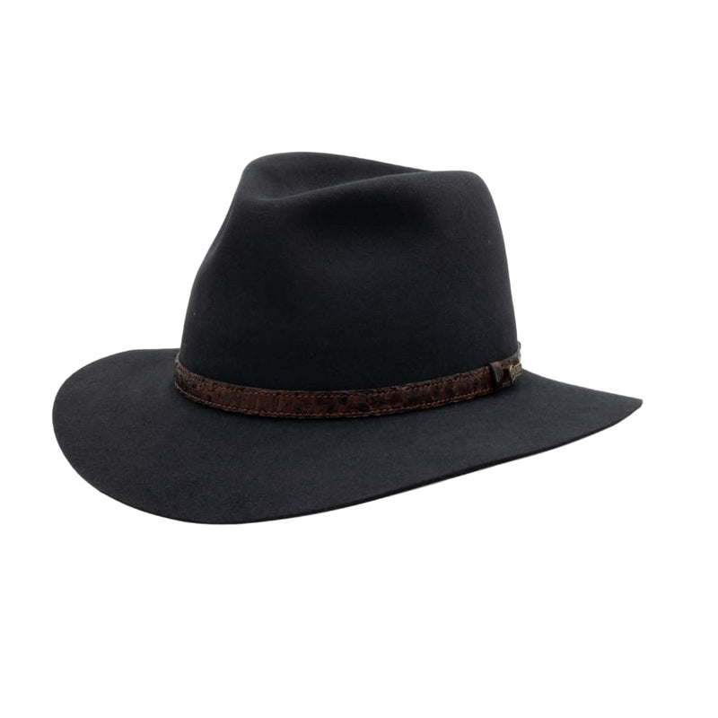View of Akubra Banjo Paterson hat in Graphite grey colour shown on angle