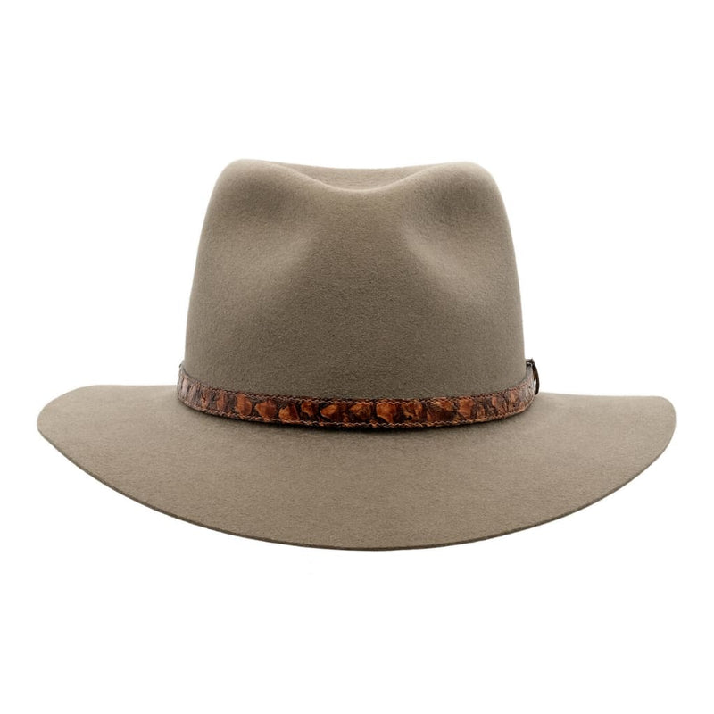 Front view of Akubra Adventurer hat in Regency Fawn