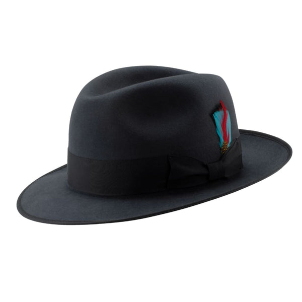 Side angle view of the Akubra Bogart hat in carbon grey.