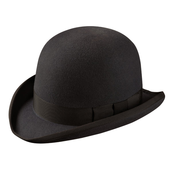 Angle view of the Akubra Bowler Hat in black.