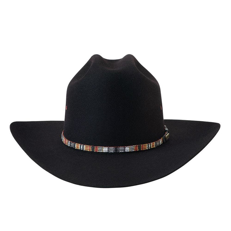 Rear view of the western style Akubra Bronco in Black.