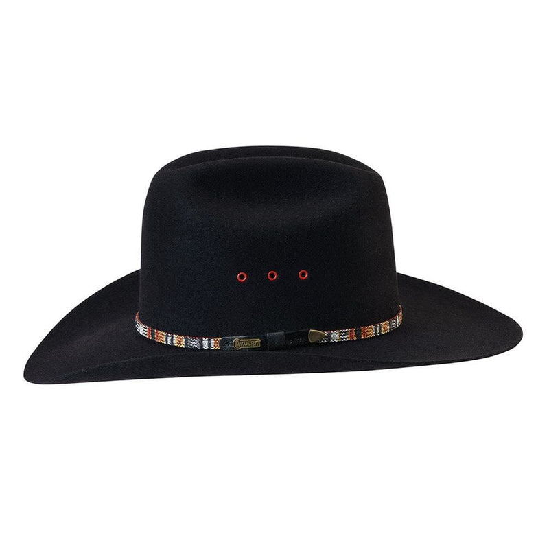 Left side view of the western style Akubra Bronco in Black, showing band and badge detail.