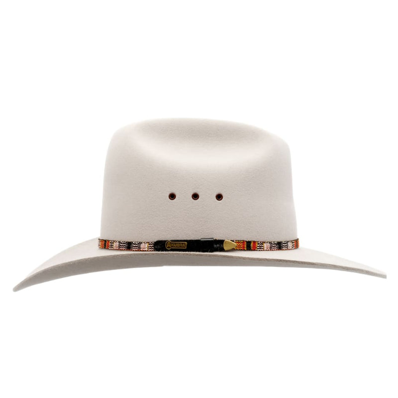 Side view image of Akubra Bronco hat in quartz colour showing hat band detail