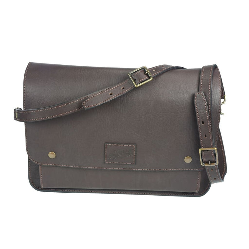 Front on view of Akubra Canning Satchel in Brown leather.
