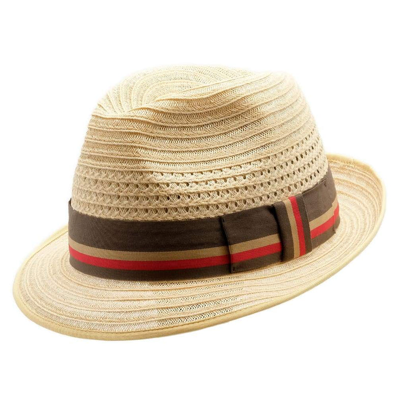angle view of the Akubra Casablanca straw hat in natural
