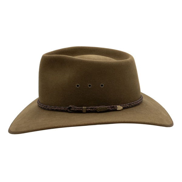 Side view of Akubra Cattleman hat in Khaki colour