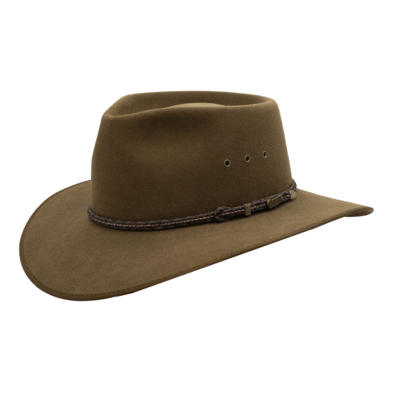 Angle view of Akubra Cattleman hat in Khaki colour