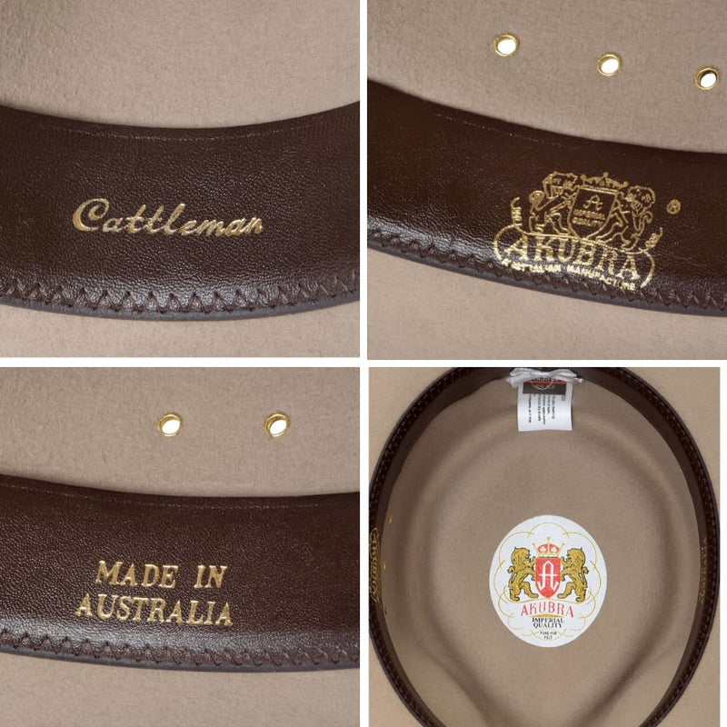 Compilation on interior images showing detail inside Akubra Cattleman hat in Sand colour