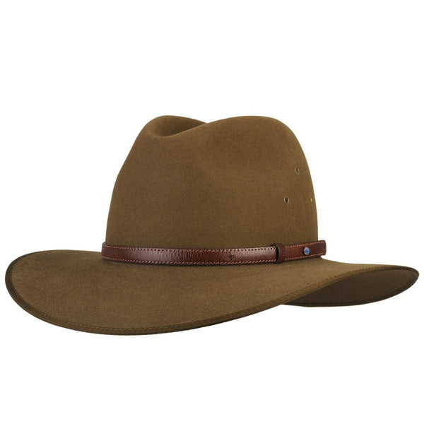 Angle view of Akubra Coober Pedy hat in khaki colour