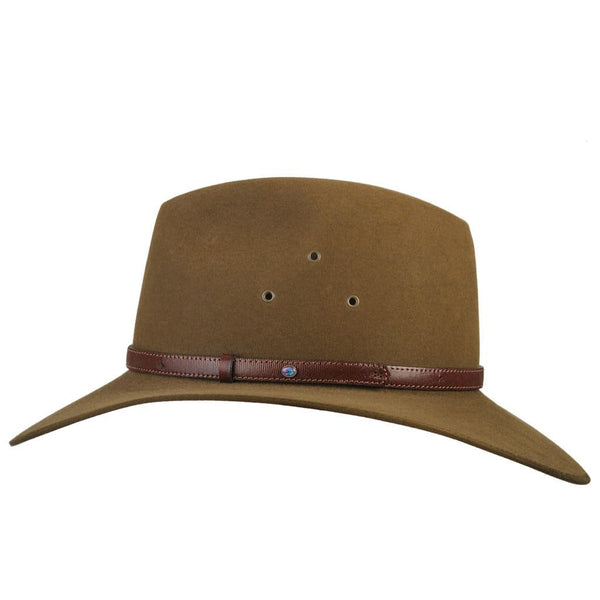 Side view of Akubra Coober Pedy hat in khaki colour showing band detail.