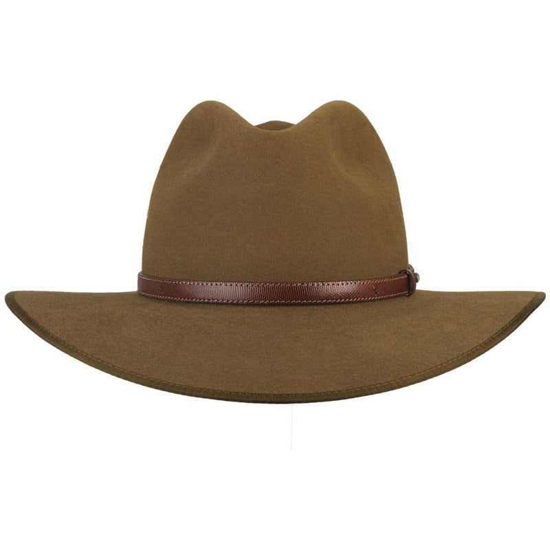 Front view of Akubra Coober Pedy hat in khaki colour