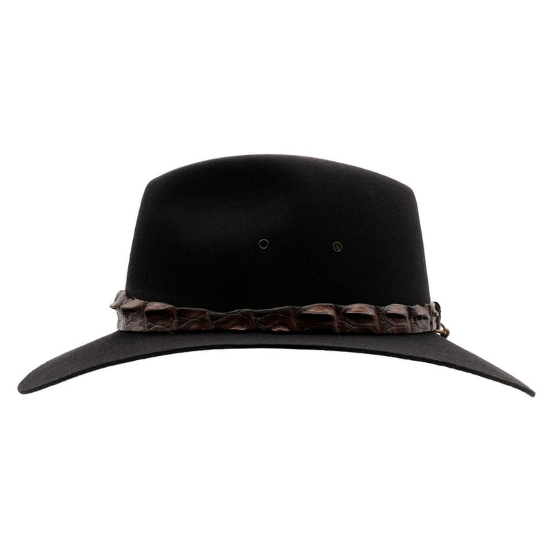 Side view of Akubra Black Coolabah hat showing crocodile band.