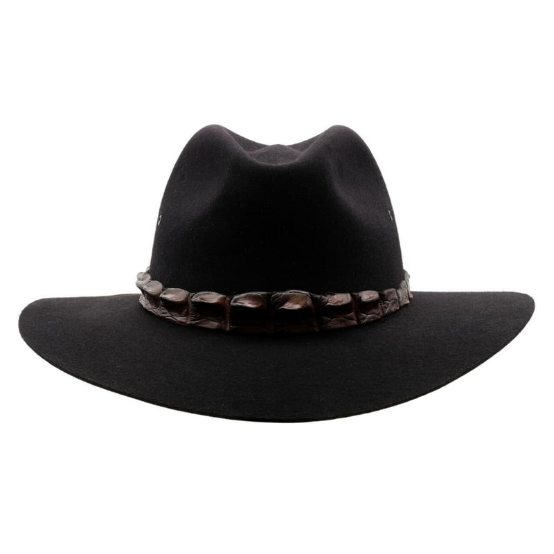 Front-on view of Akubra Black Coolabah hat.