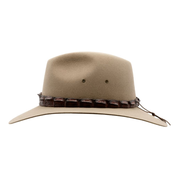 Side view of Akubra Coolabah hat in Bran