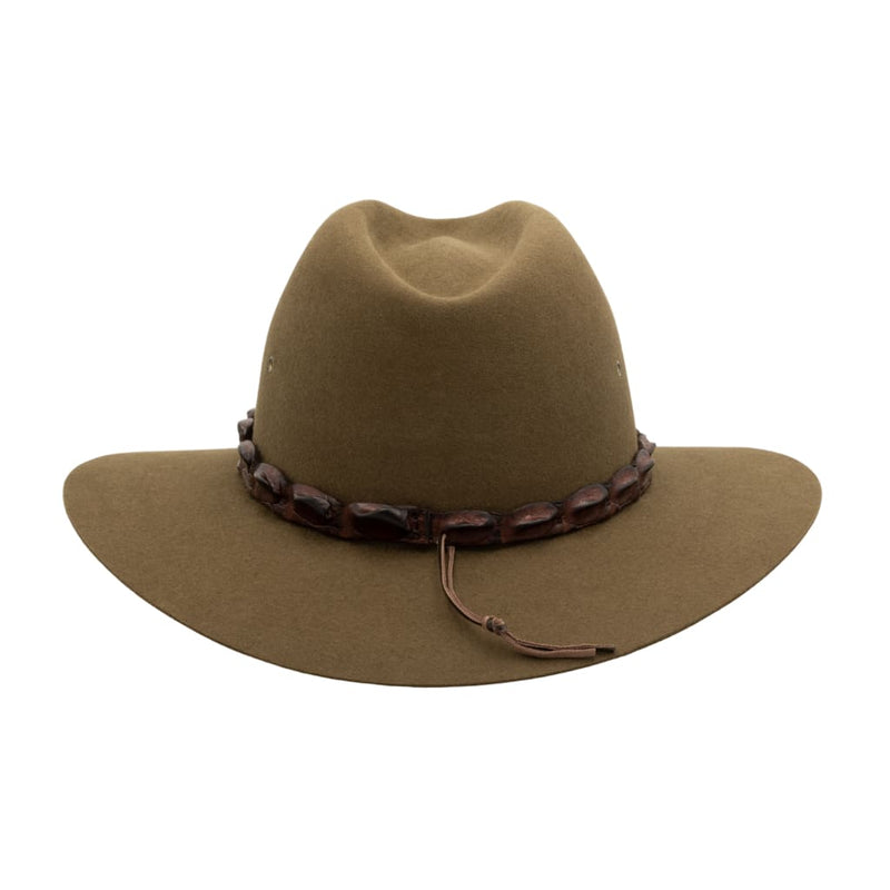 Back view of Akubra Coolabah hat in Khaki colour showing hat band detail