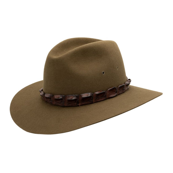 Angle view of Akubra Coolabah hat in Khaki colour