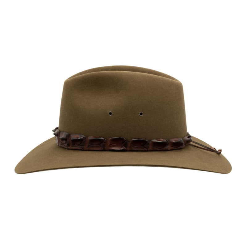 Side view of Akubra Coolabah hat in Khaki colour