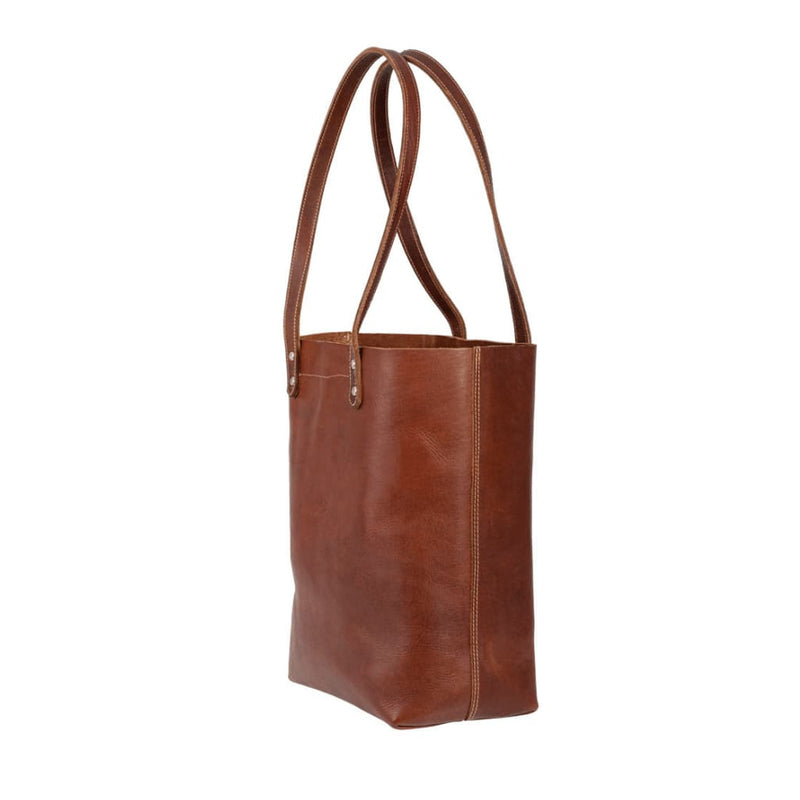 Side view of Darling Tote in Chestnut Brown