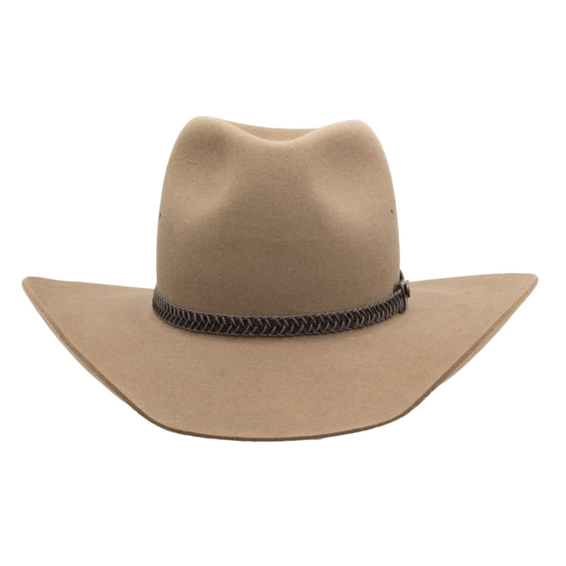 Front view of Akubra Golden Spur hat in Bran