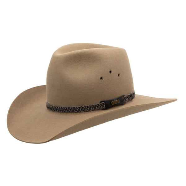 Angle view of Akubra Golden Spur hat in Bran