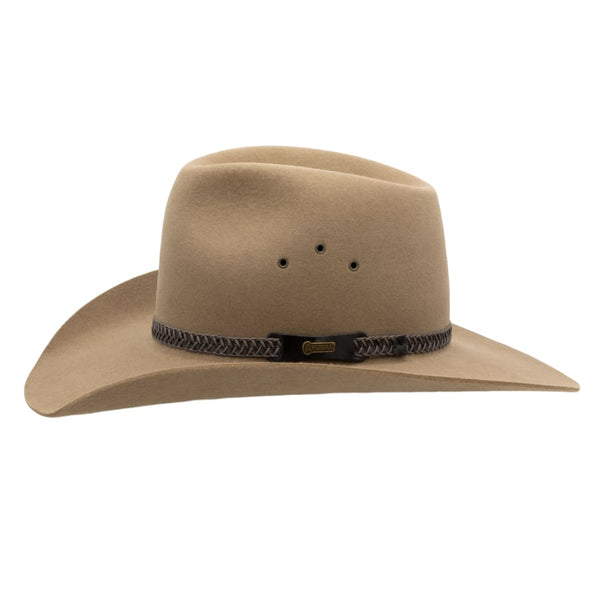 Side view of Akubra Golden Spur hat in Bran