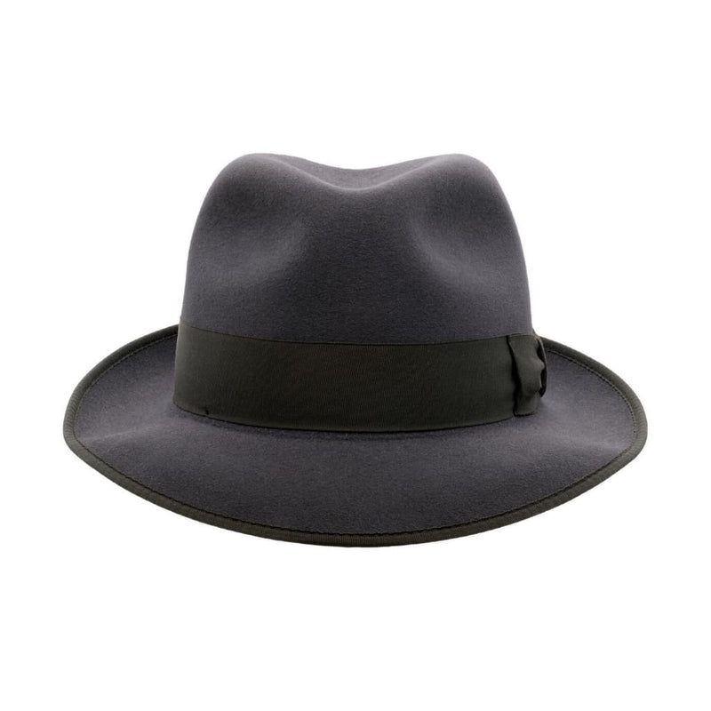 Front on view of Akubra Hampton Carbon Grey hat