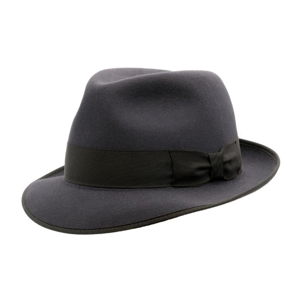 Angle view of Akubra Hampton Carbon Grey hat