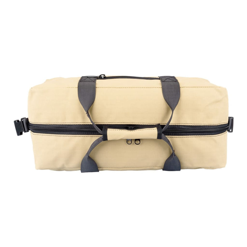 Top down view of Akubra Hastings 35L carry-on heavy duty ripstop canvas bag in sand colour.