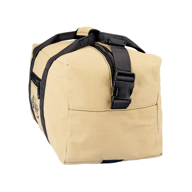 End view of Akubra Hastings 35L carry-on heavy duty ripstop canvas bag in sand colour.