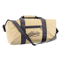 Akubra Hastings 35L carry-on heavy duty ripstop canvas bag in Sand colour showing strap and front pocket with logo