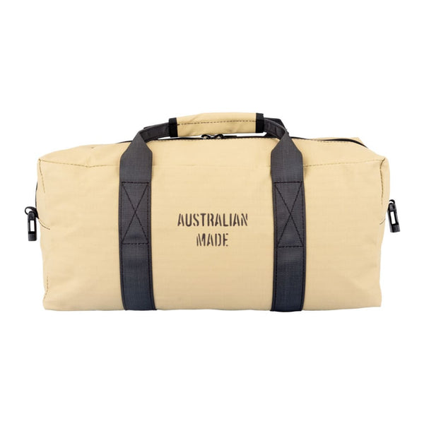 Akubra Hastings 35L carry-on heavy duty ripstop canvas bag in Sand colour showing reverse side with Australian Made stamp.