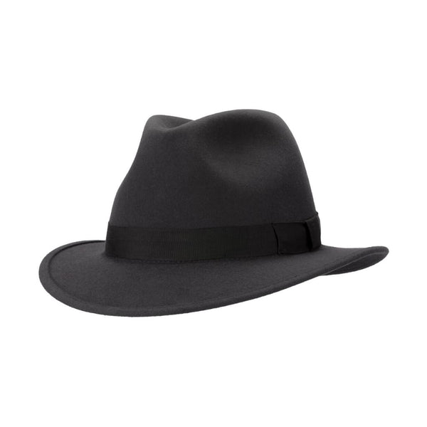Angle view of Akubra International hat in Carbon Grey