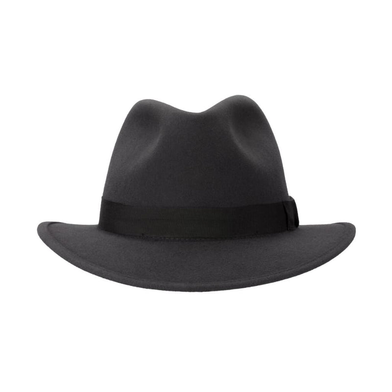 Front-on view of Akubra International hat in Carbon Grey