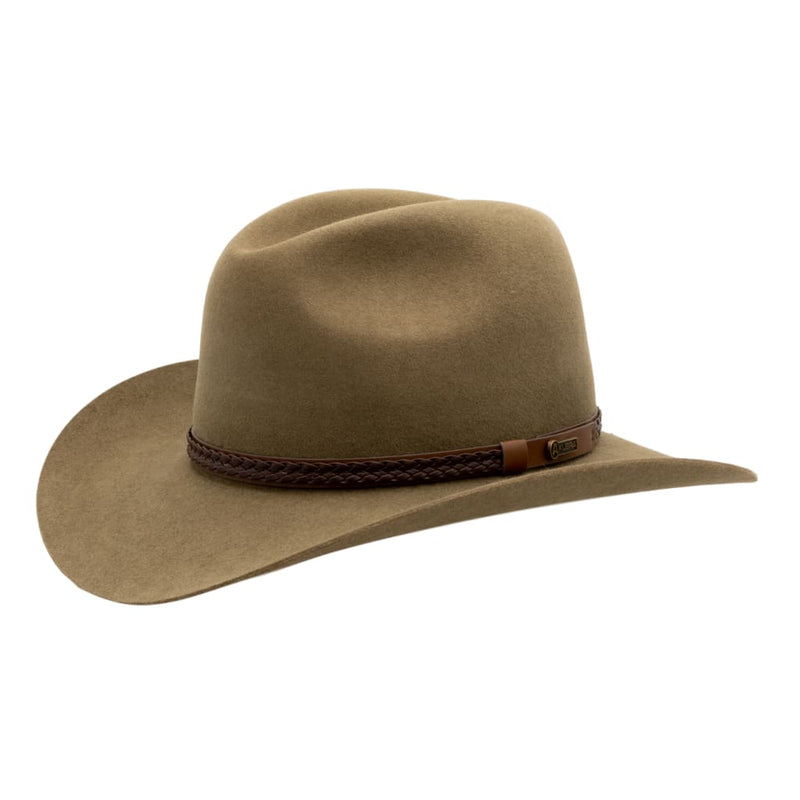 Angle view of Akubra Kiandra hat in Santone colour