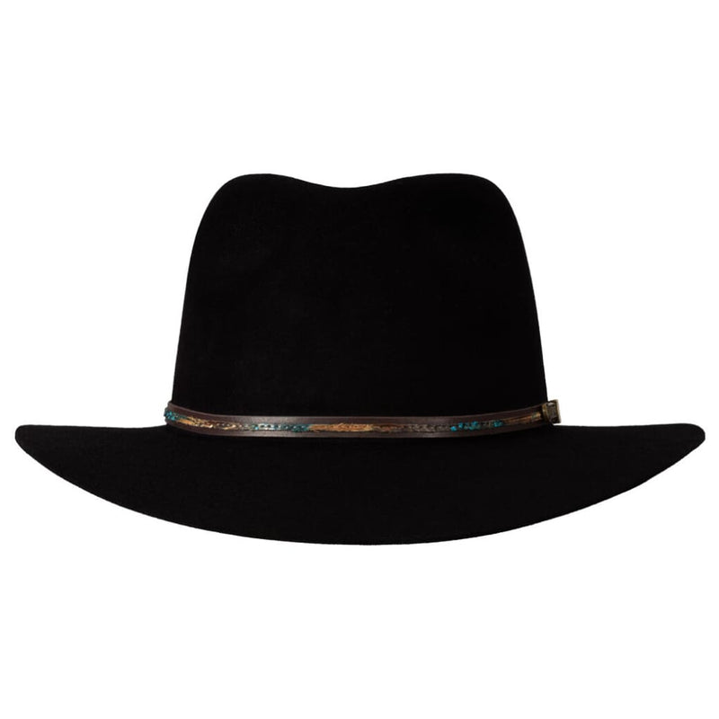 Front-on view of Akubra Leisure Time hat in Black