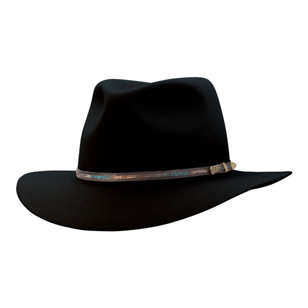Angle view of Akubra Leisure Time hat in Black