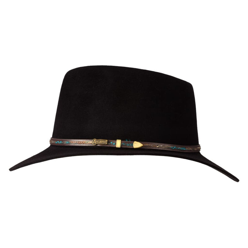 Side view of Akubra Leisure Time hat in Black