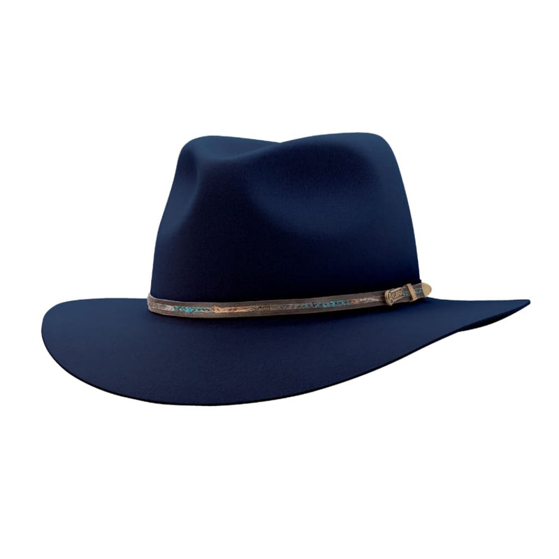Angle view of Akubra Leisure Time hat in Federation Navy