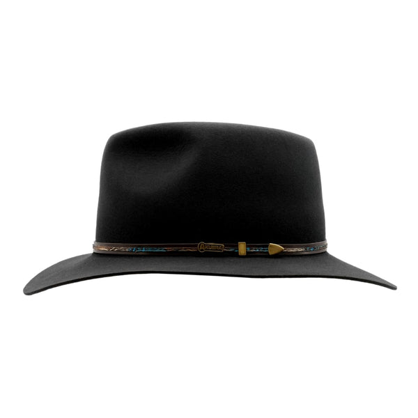 Side view of Akubra Leisure Time hat in Graphite colour