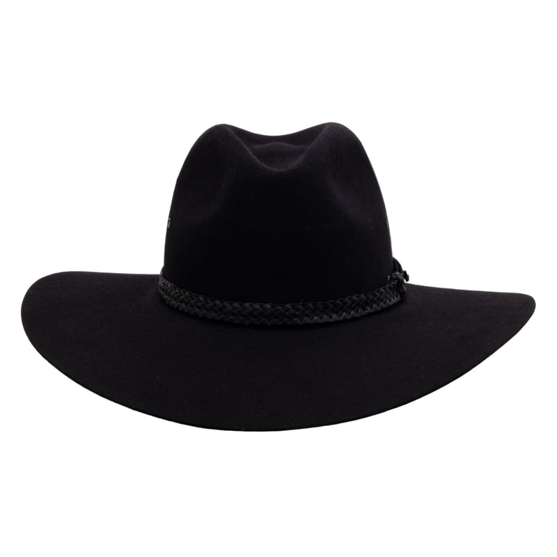 Front view of Akubra Black Riverina hat