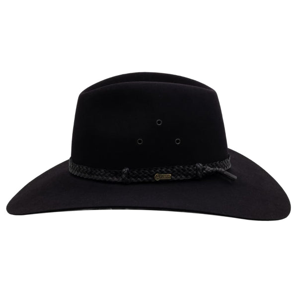 Side view of Akubra Black Riverina hat