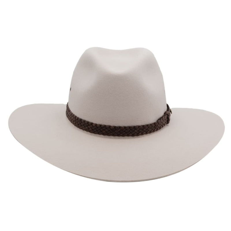 Front view of Akubra Riverina hat in light sand colour