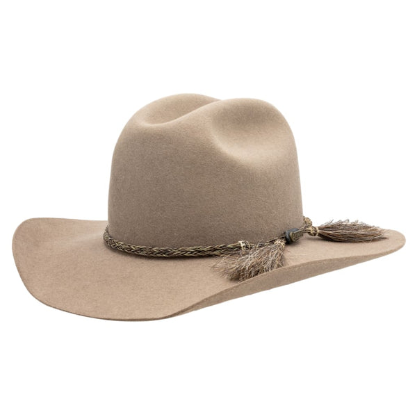 Angle view of Akubra Bran coloured Rough rider hat