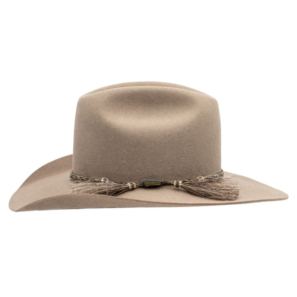 Side view of Akubra Bran coloured Rough rider hat