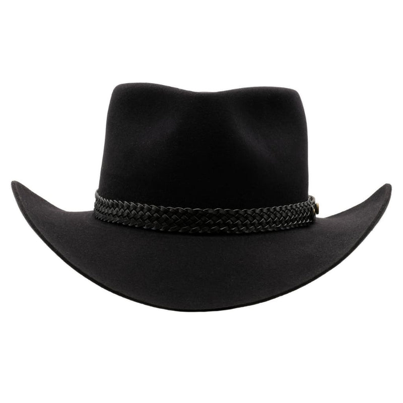 Front view of Akubra Snowy River hat in Black