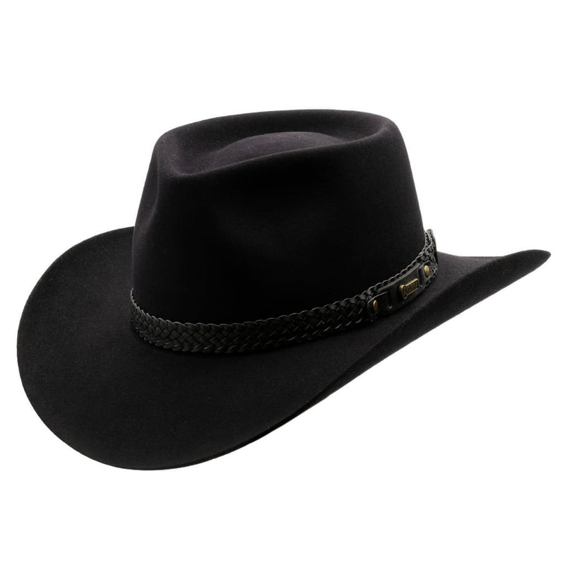 Angle view of Akubra Snowy River hat in Black