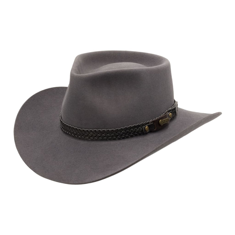 Angle view of Akubra Snowy River hat in Glen Grey
