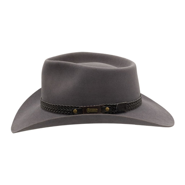 Side view of Akubra Snowy River hat in Glen Grey